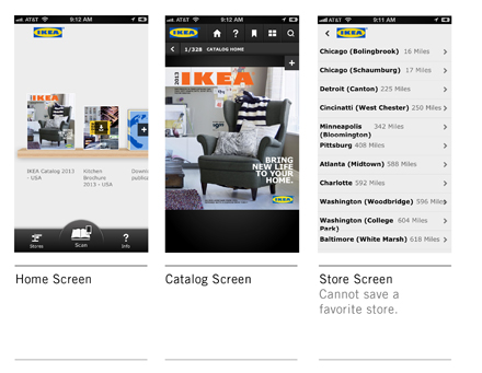IKEA Mobile Initial Screens